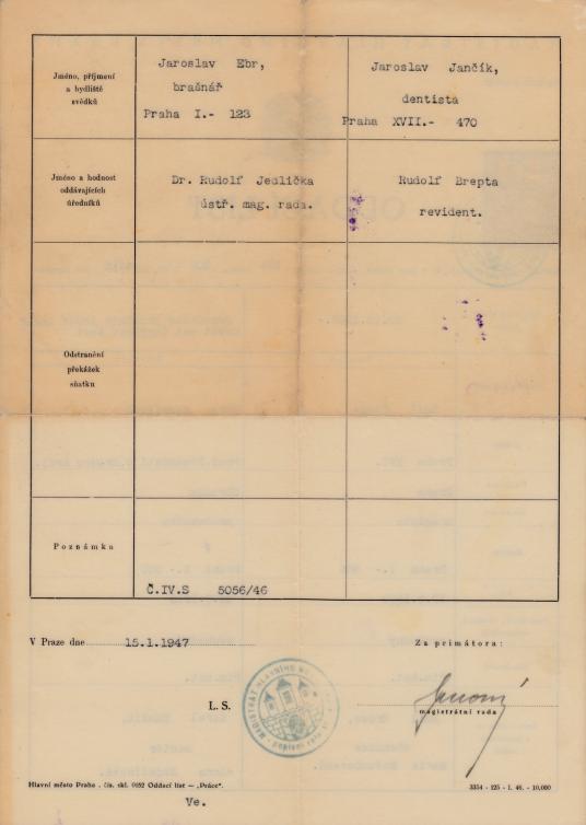 Odaci List Emil Gross & Vera (Hamsikova) Grossova - 2